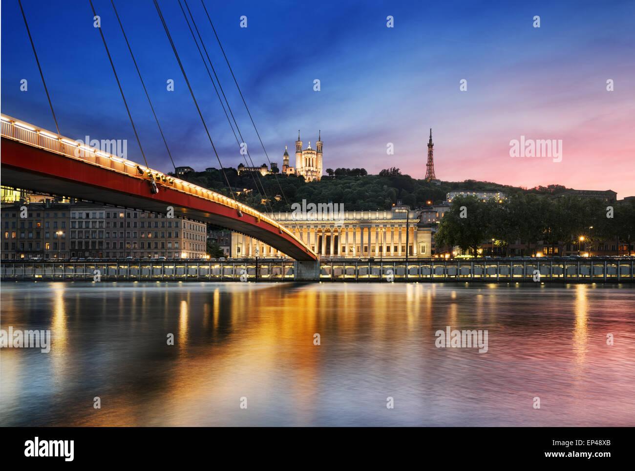 View of Saone river at sunset,Lyon, France. - Stock Image
