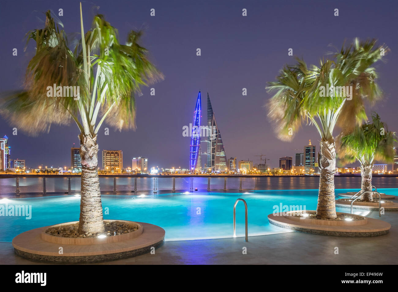 Skyline of Manama city  from new Four Seasons Bahrain Bay luxury Hotel in Bahrain Stock Photo
