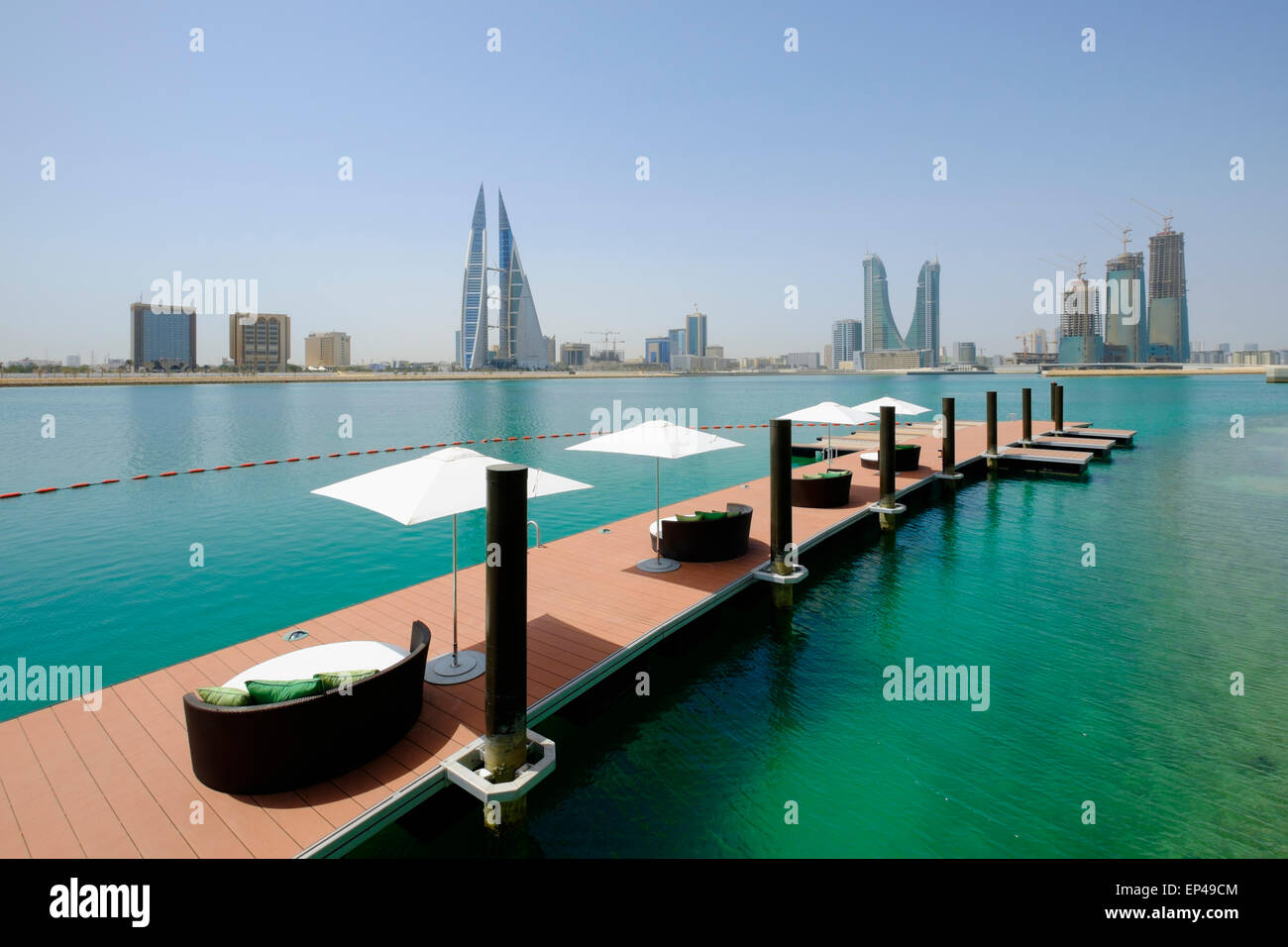 View of Bahrain skyline and Bahrain Bay from new Four Seasons Bahrain Bay luxury Hotel in Bahrain - Stock Image