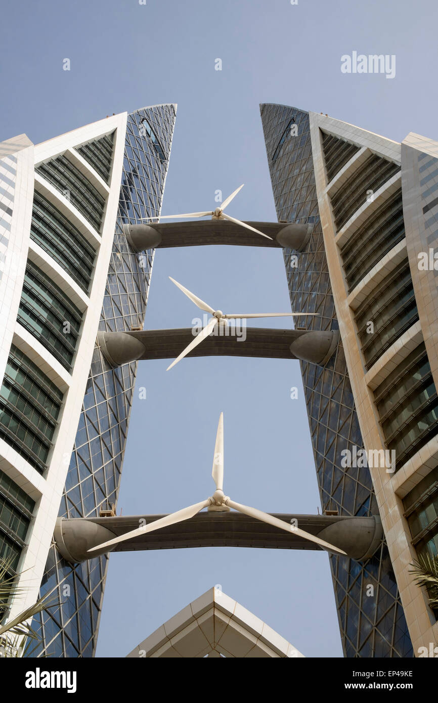 Detail of wind turbines installed on World Trade Center in Manama Kingdom of Bahrain - Stock Image