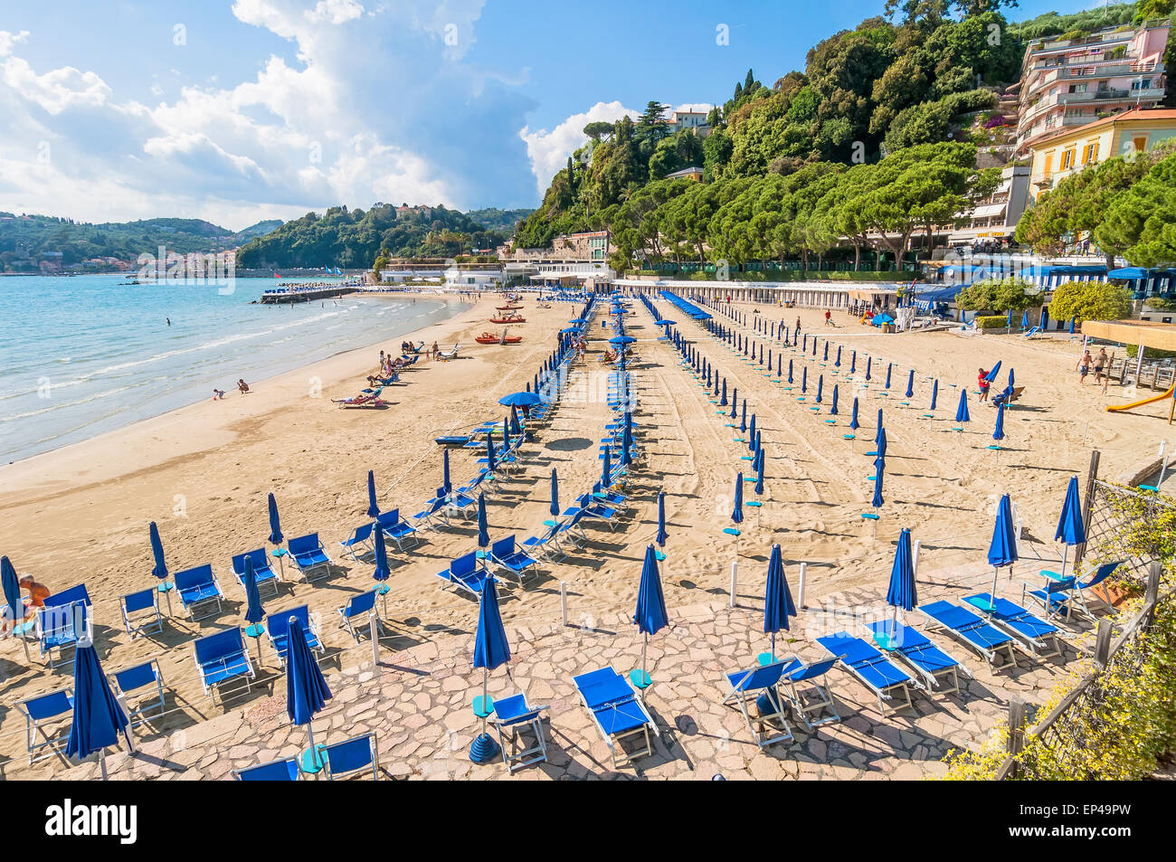 LERICI, ITALY - MAY 31, 2014: beach and town of Lerici, Italy. Lerici is located in La Spezia Gulf of Poets, Liguria, - Stock Image