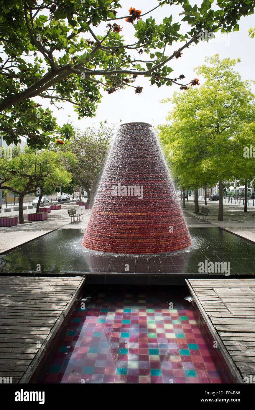 Water volcano in the Ocean's Avenue (Alameda dos Oceanos) in the Park Of Nations (Parque das Nações), - Stock Image