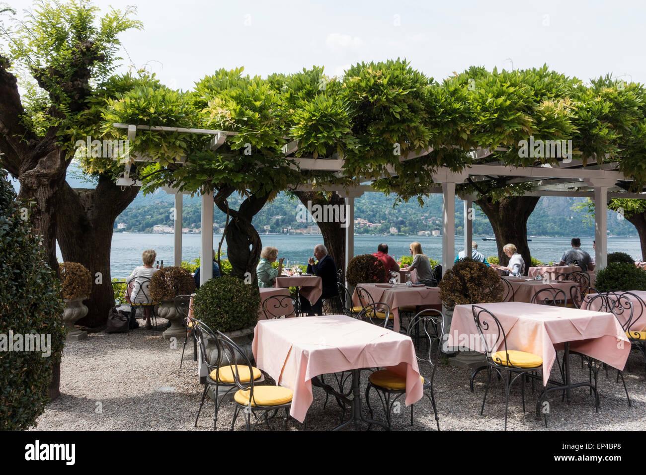 Outdoor Restaurant In Bellagio Lake Como Lombardy Italy Stock Photo
