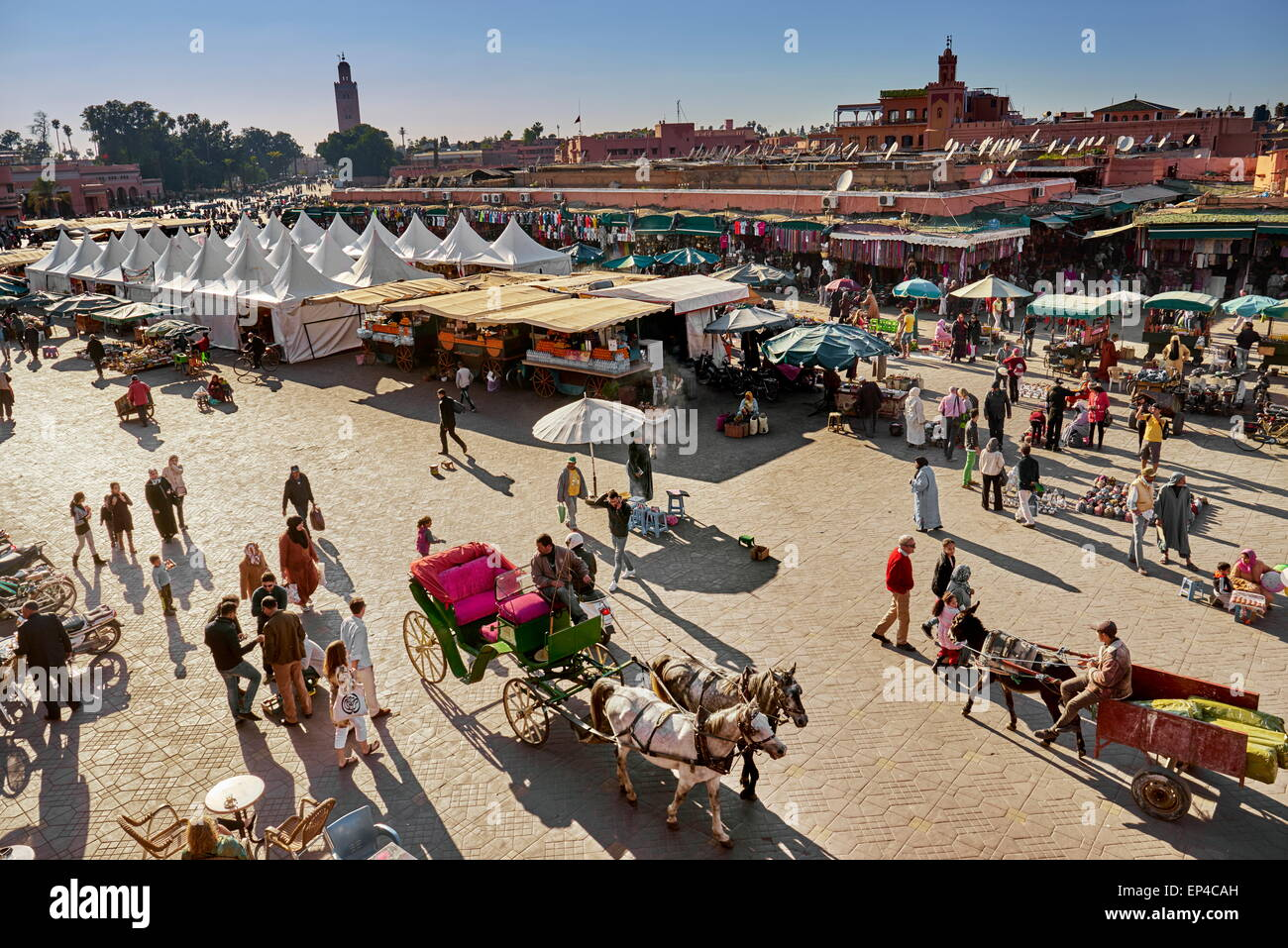 Marrakesh Medina. Jemaa el Fna Square in the early afternoon. Morocco - Stock Image