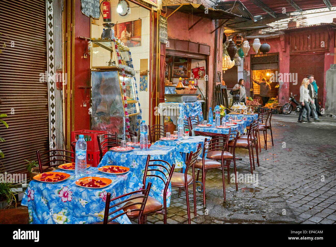 A local street restaurant near of the Djemaa el-Fna Square, Marrakech Medina, Morocco, Africa - Stock Image