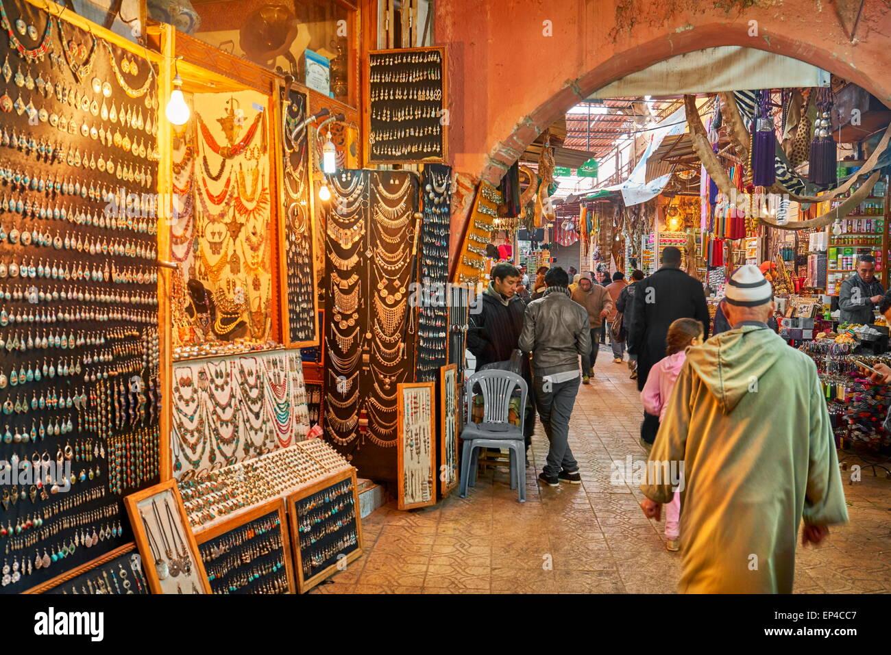 Marrakech Medina, local souk, Morocco, Africa - Stock Image