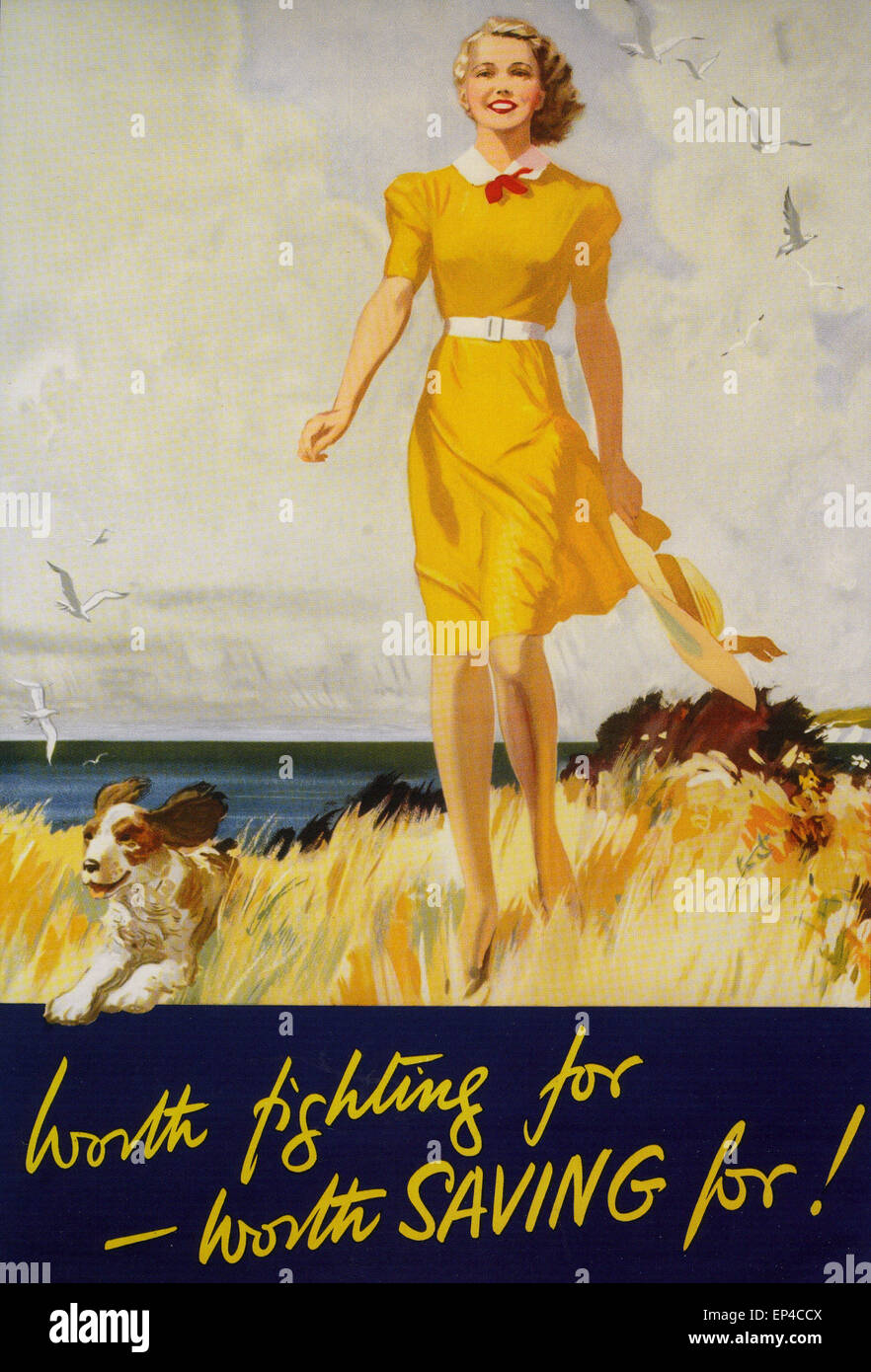 NATIONAL SAVINGS  WW2 poster - Stock Image