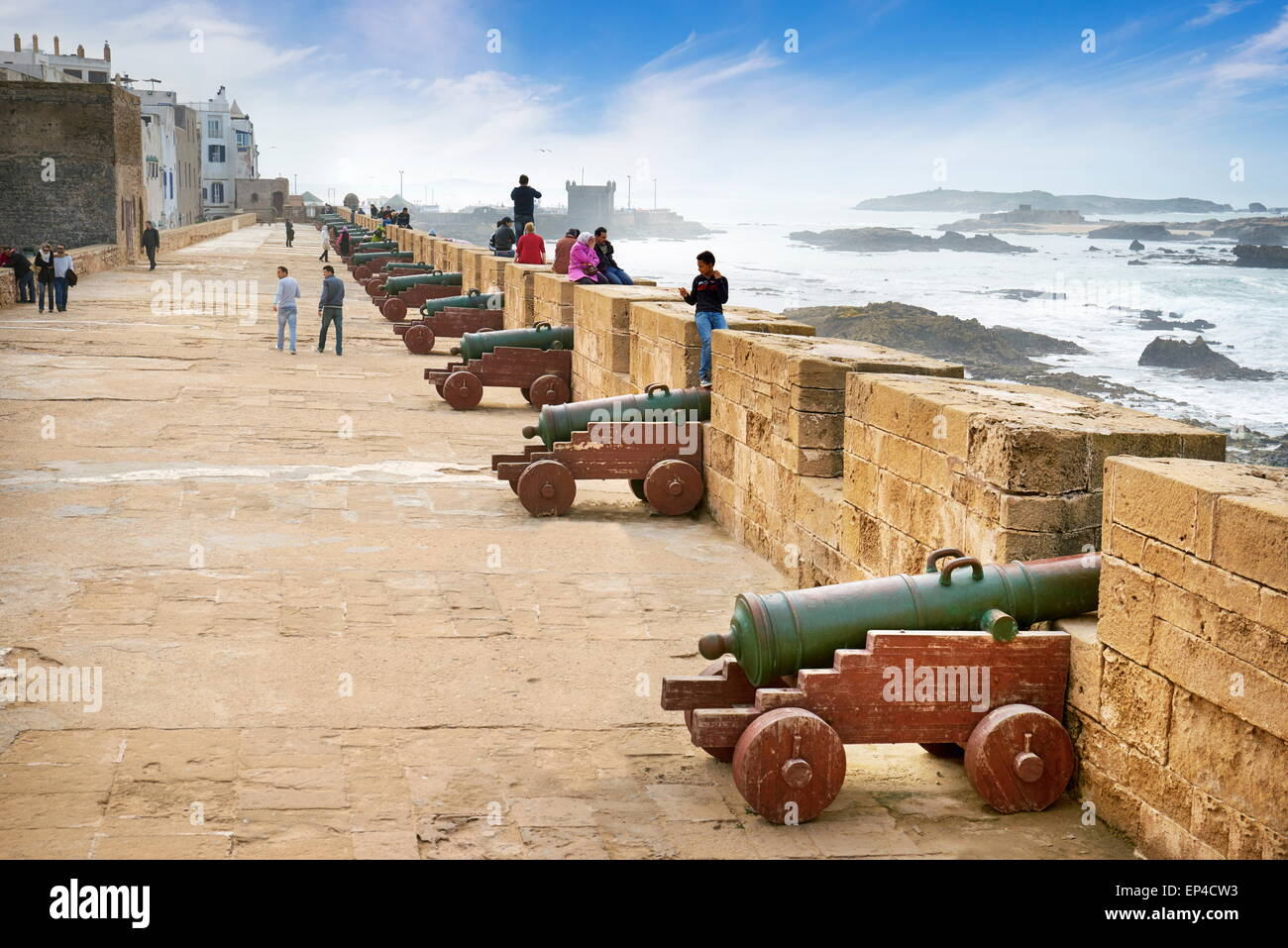 Essaouira, coastal fortified town ramparts are 17th century cannons. Morocco - Stock Image