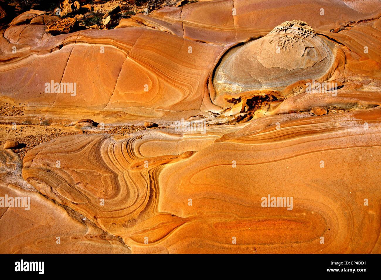 Amazing volcanic rocks at Faraklo (or 'Falakro') beach, Lemnos (Limnos) island, North Aegean, Greece. - Stock Image