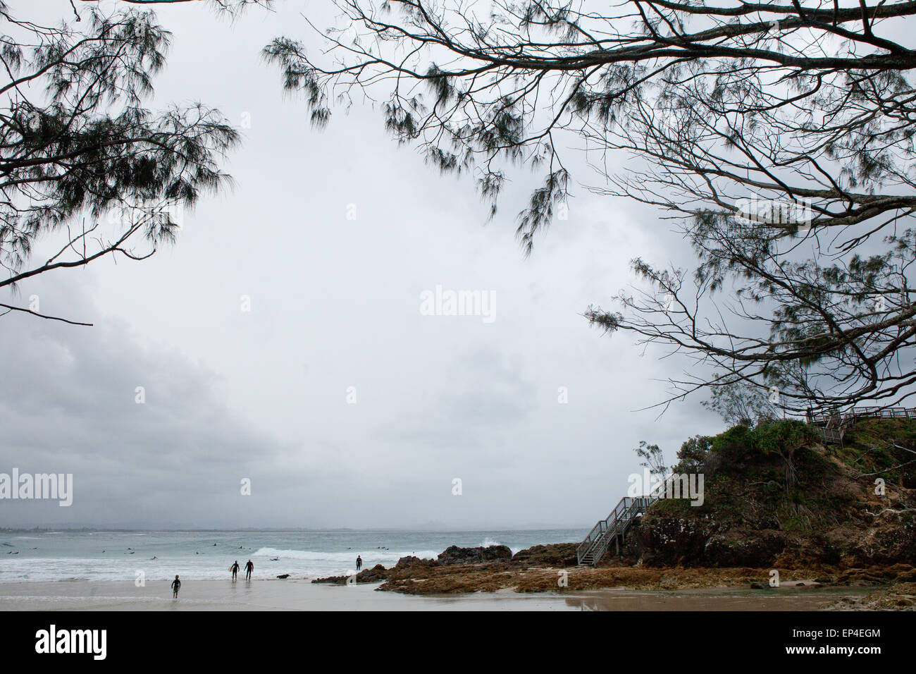 A wideshot of the pass in the Byron Bay, Australia a well known surf spot. - Stock Image
