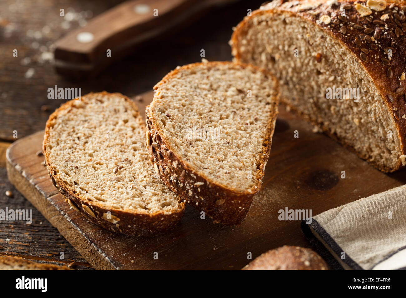 Organic Homemade Whole Wheat Bread Ready to Eat - Stock Image