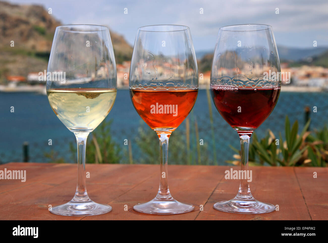 Lemnos island is famous for its local products, especially cheese & wines. - Stock Image