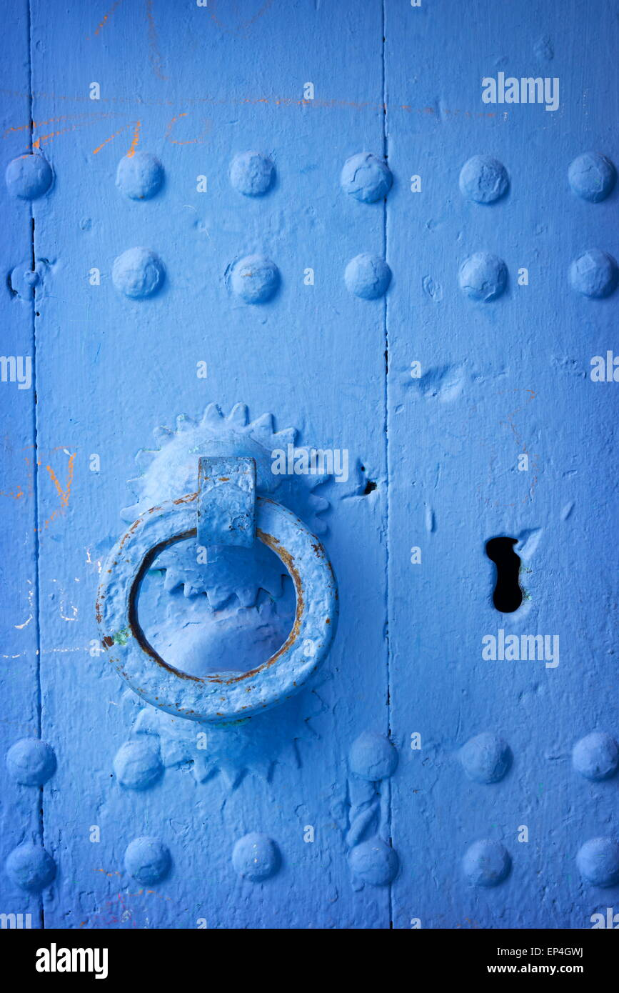 Chefchaouen (Chaouen) - door was painted blue color, Morocco Stock Photo