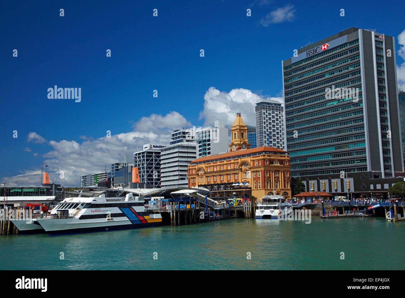Auckland Ferry Terminal, and historic Ferry Building, Auckland waterfront, North Island, New Zealand - Stock Image