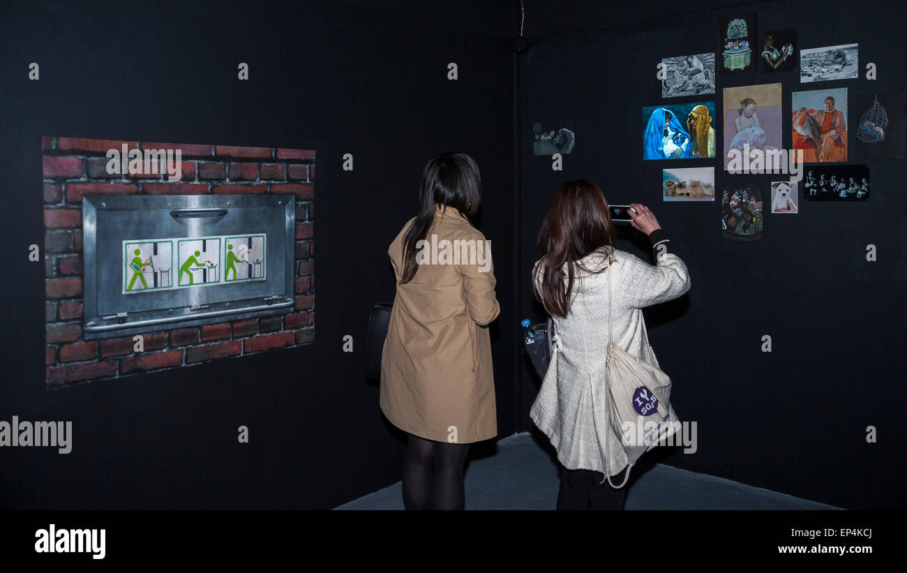 """FILE: The winner of the Catlin Art Prize 2015 was named as Zhu Tian. London, UK. 7th May, 2015.   Guests view """"1000 Stock Photo"""
