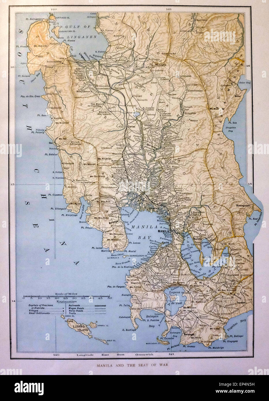 Map of Manila, Philippines and the Seat of War - 1898-1900 - Stock Image