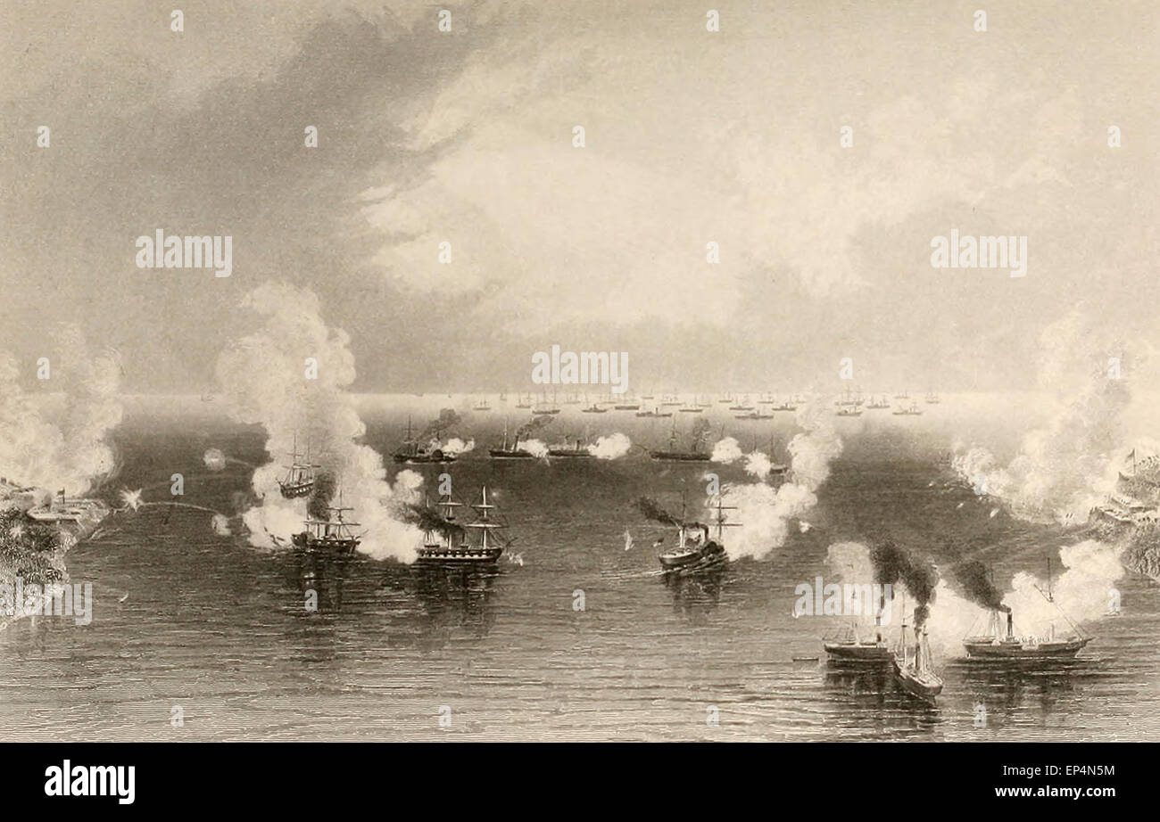 Bombardment of Port Royal - Transport fleet in the Distance during the USA Civil War - Stock Image
