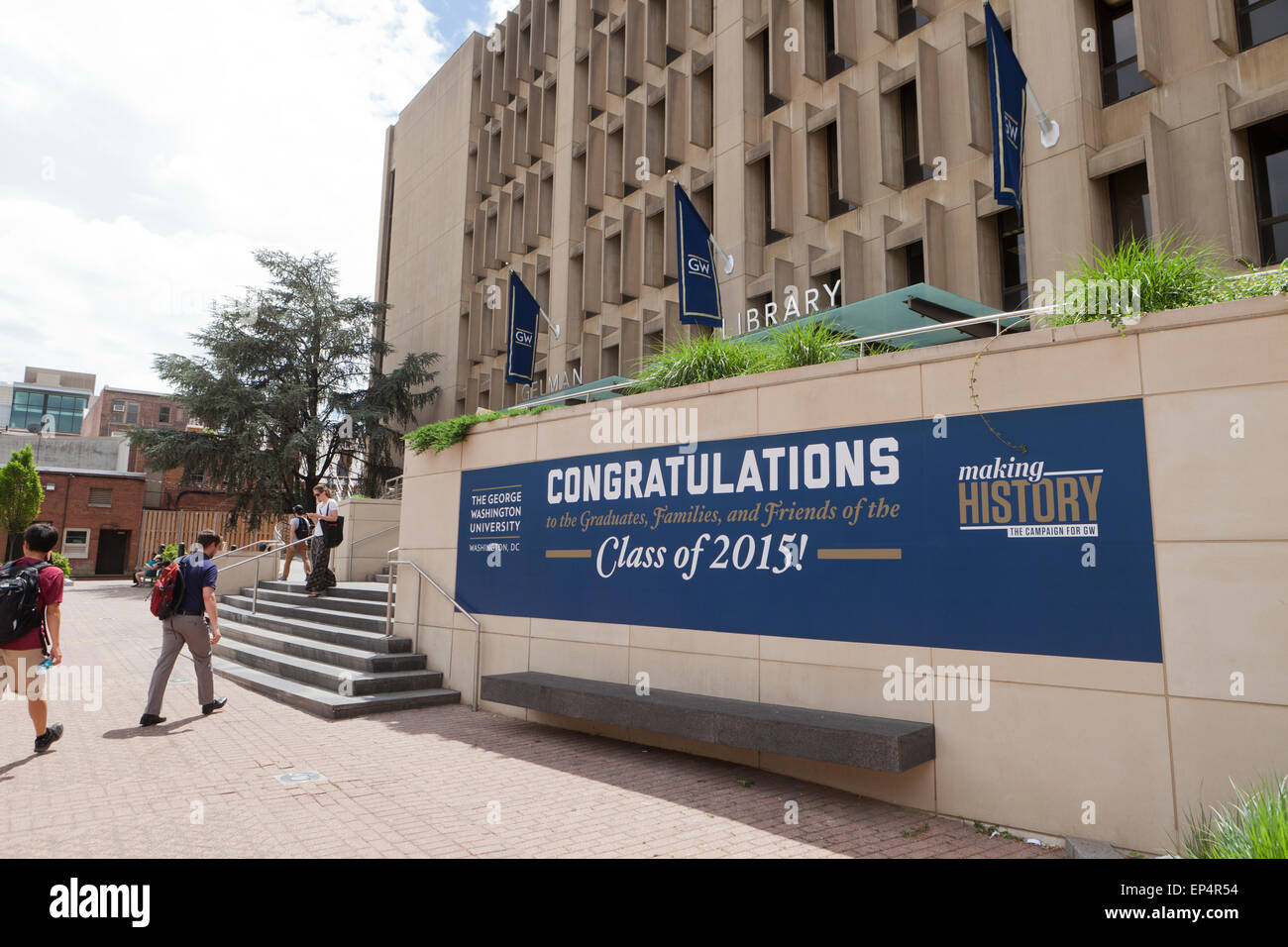 Congratulations sign for graduating class of 2015, George Washington University - Washington, DC USA - Stock Image