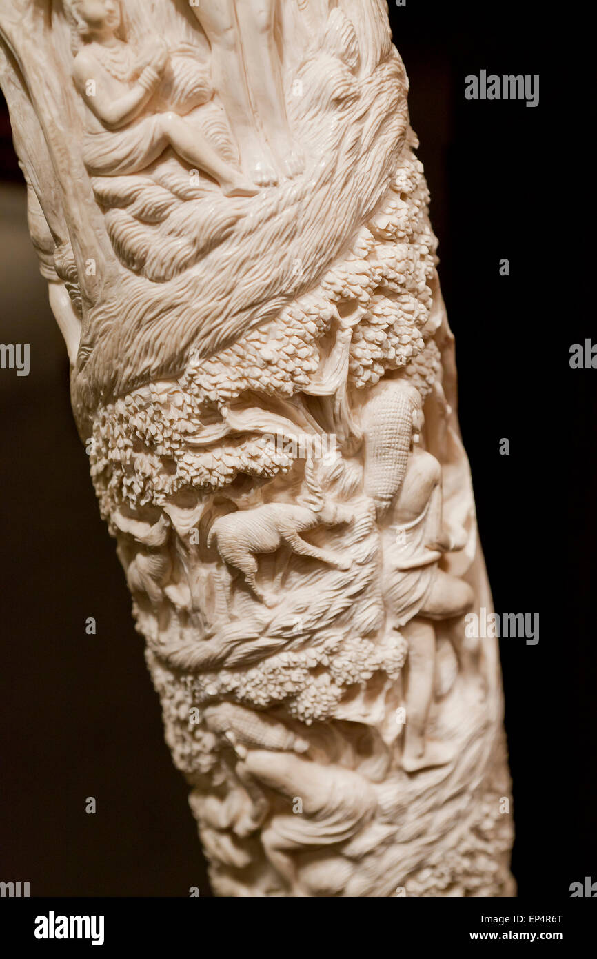 Carved elephant ivory tusk - USA - Stock Image