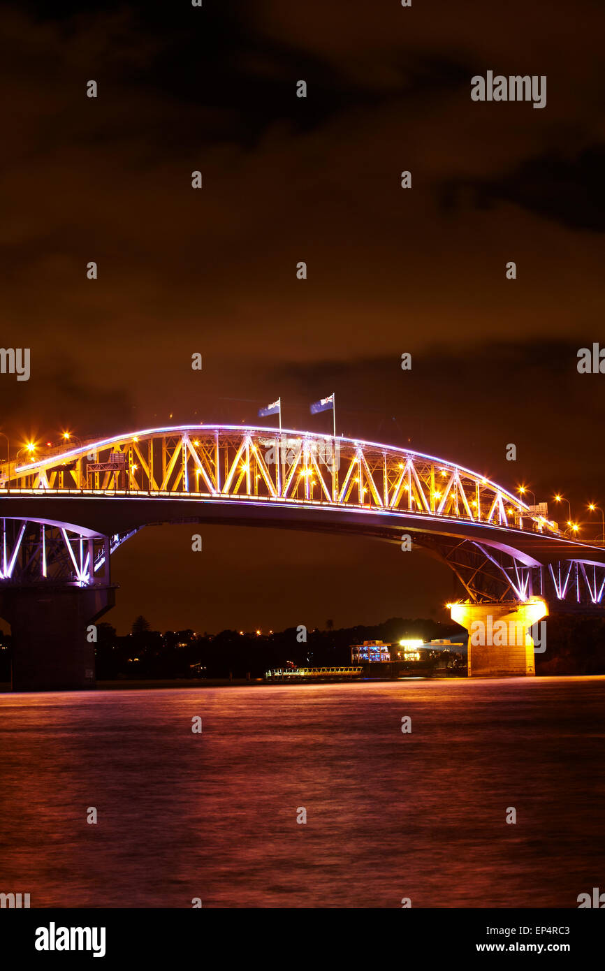 Auckland Harbour Bridge and Waitemata Harbour at night, Auckland, North Island, New Zealand - Stock Image