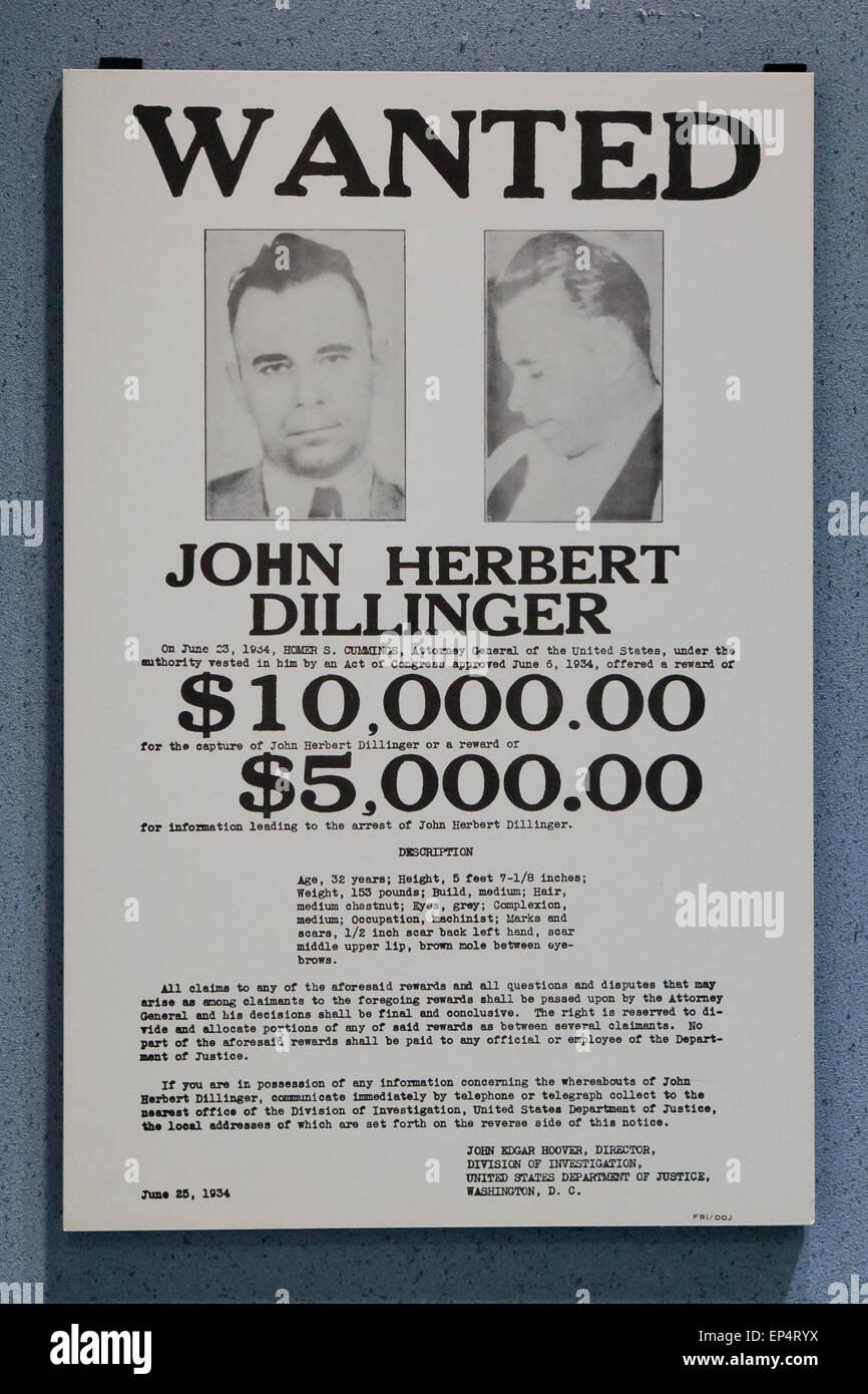 FBI wanted poster of John Herbert Dillinger, circa 1934 - USA - Stock Image