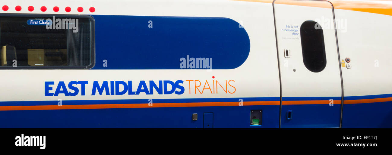 East Midlands train at Derby station. England, UK - Stock Image