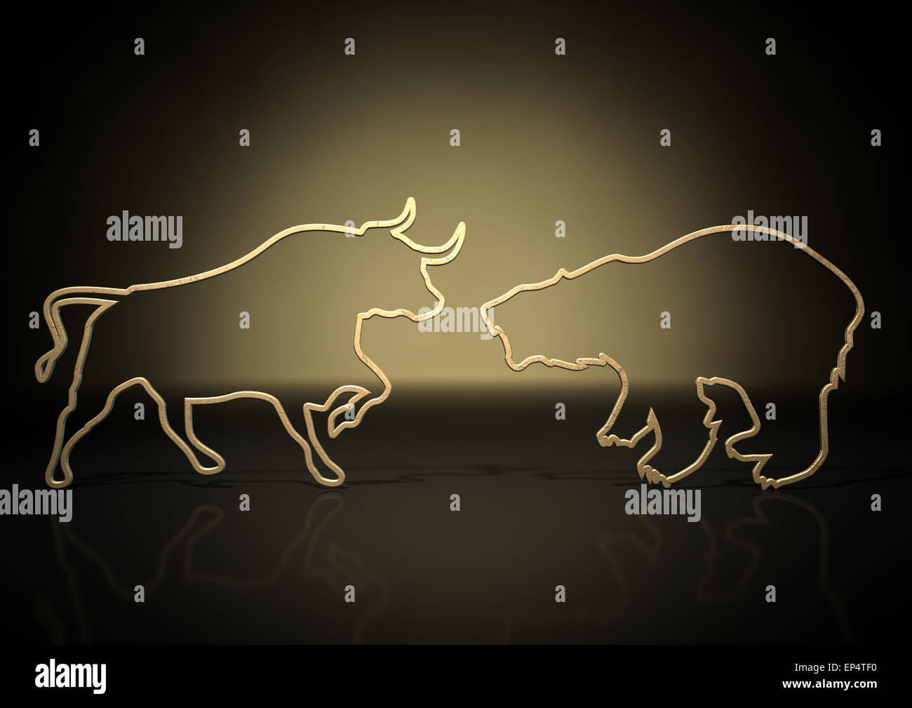 An abstract closeup of two gold outlines depicting a stylized bull and a bear representing financial market trends - Stock Image