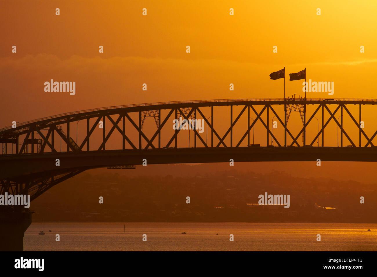 Sunset, Auckland Harbour Bridge, Auckland, North Island, New Zealand - Stock Image