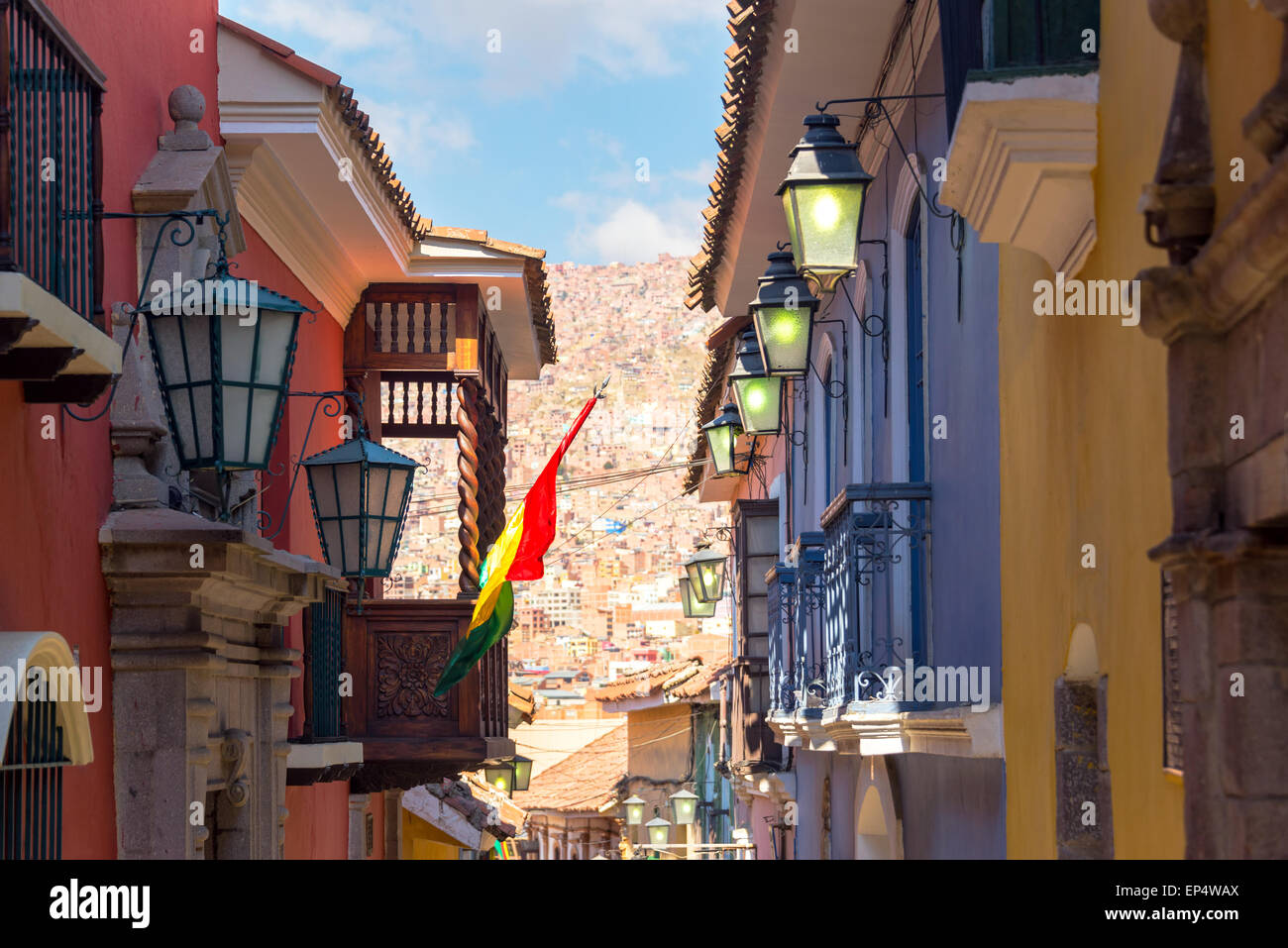 View of old colonial buildings on Jaen Street in La Paz, Bolivia - Stock Image