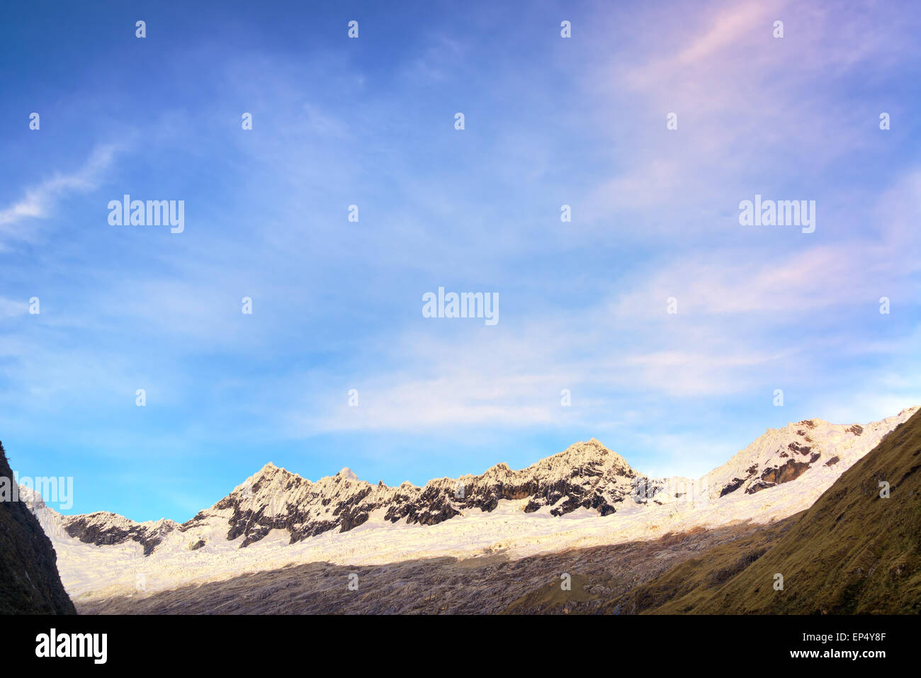 View of Andes mountains in the Cordillera Blanca near Huaraz, Peru - Stock Image