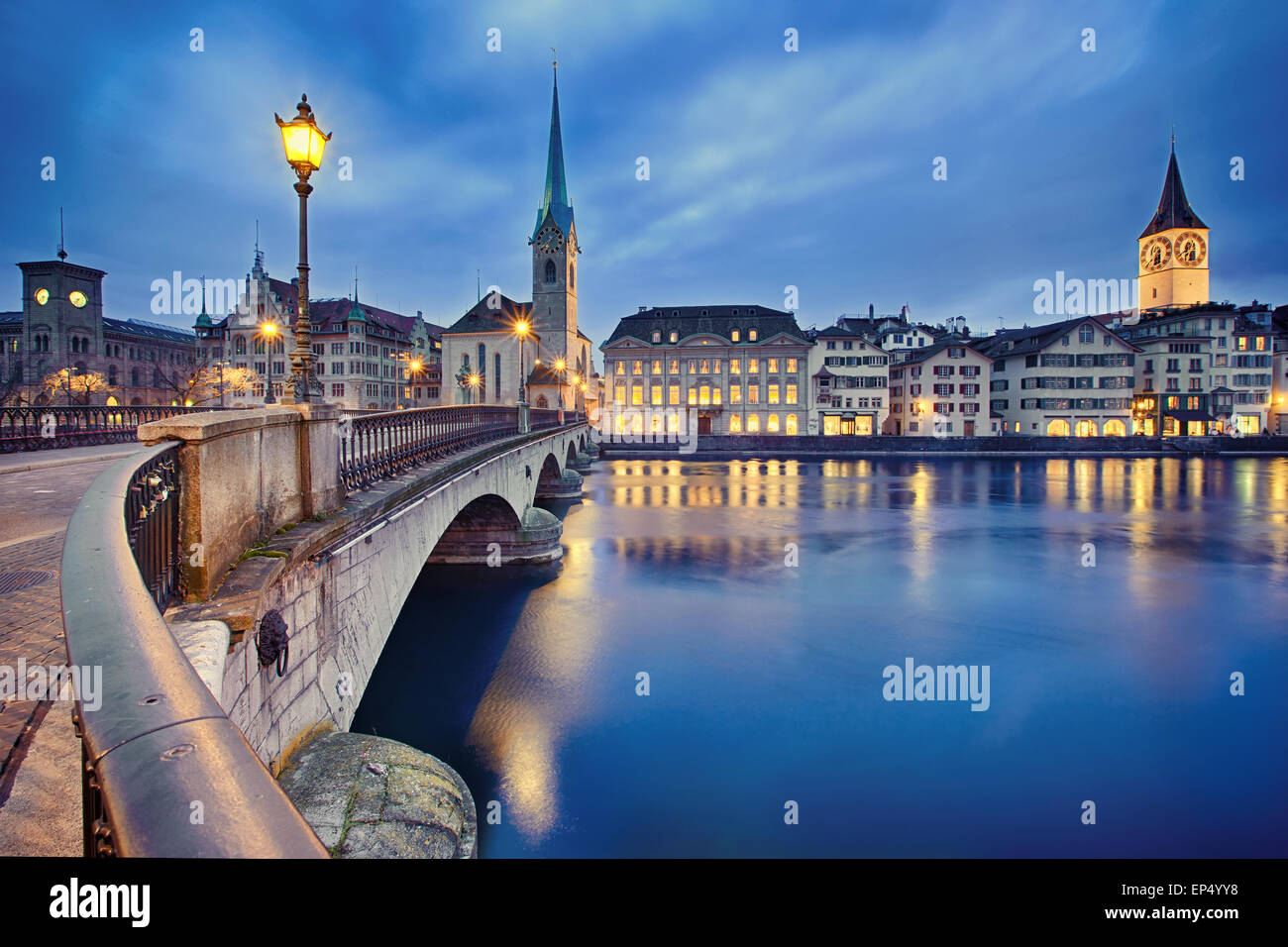 cityscape of night Zurich, Switzerland - Stock Image