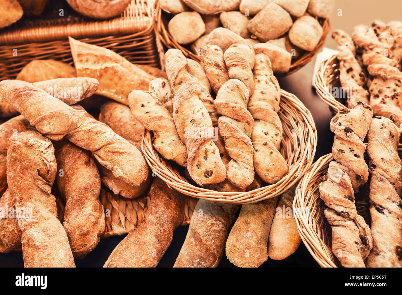 pile of french baguette - Stock Image