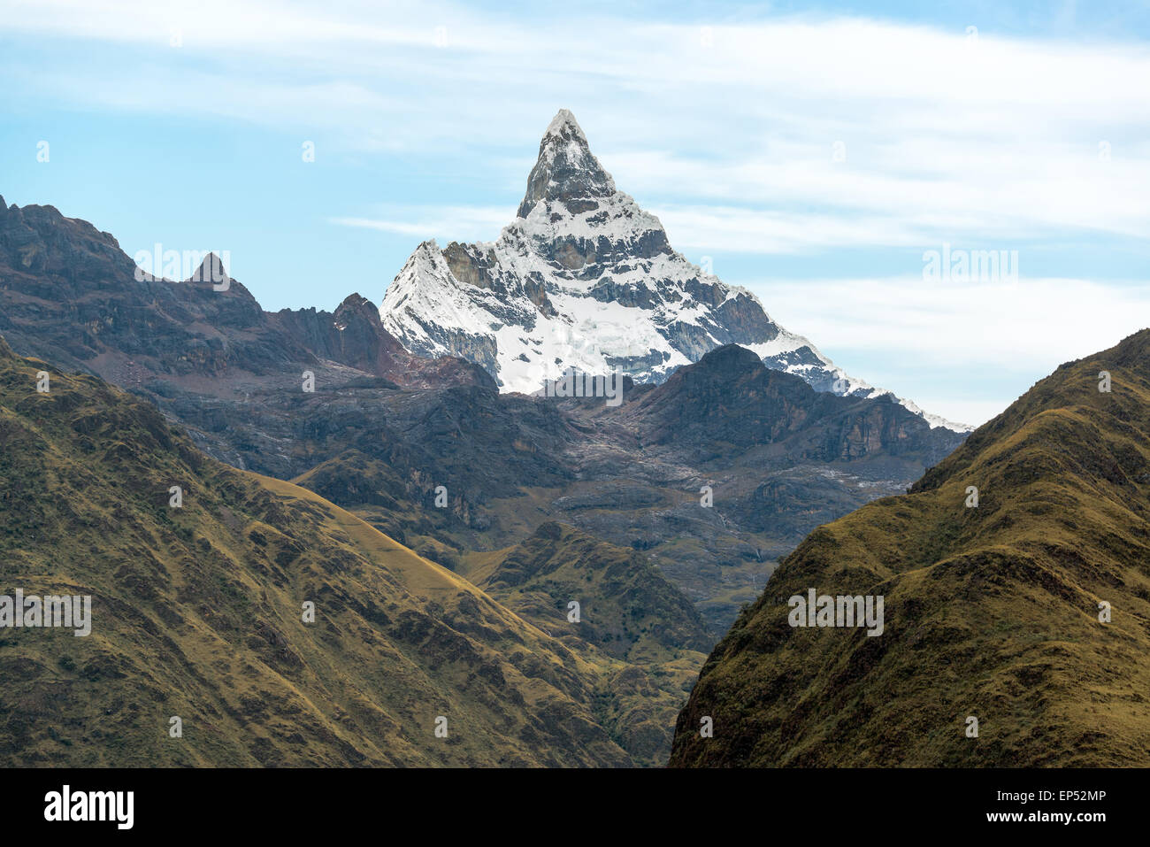 View of Alpamayo Mountain in the Cordillera Blanca near Huaraz, Peru - Stock Image