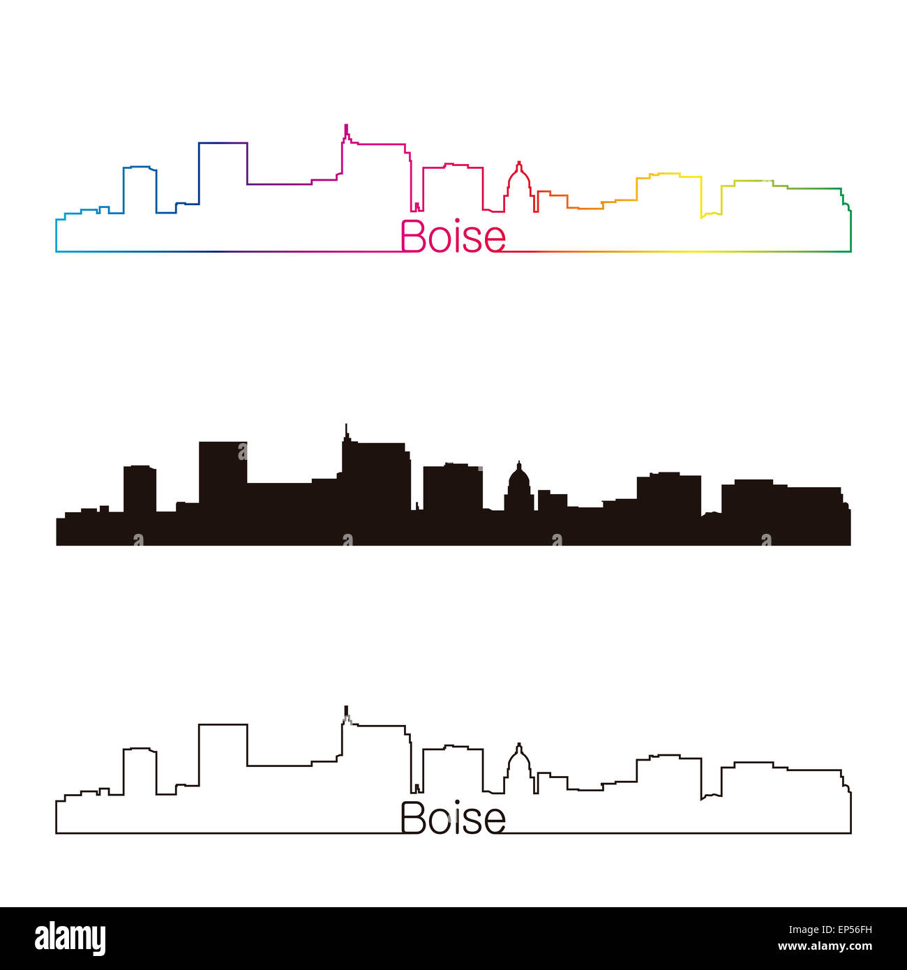 Boise skyline linear style with rainbow - Stock Image