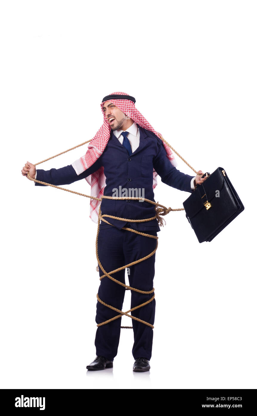 Arab man tied up with rope on white - Stock Image