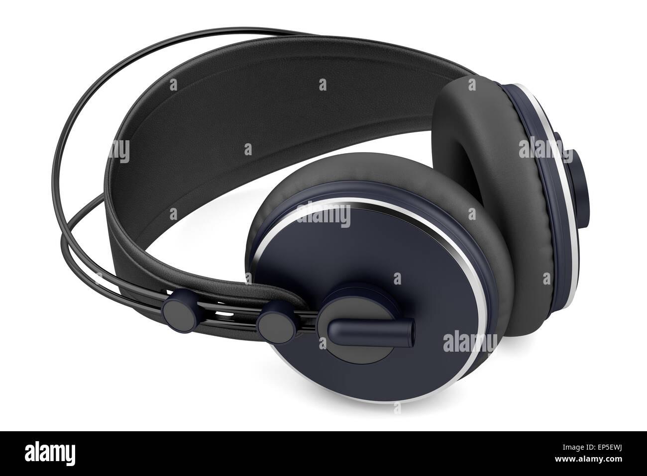 black wireless headphones isolated on white - Stock Image