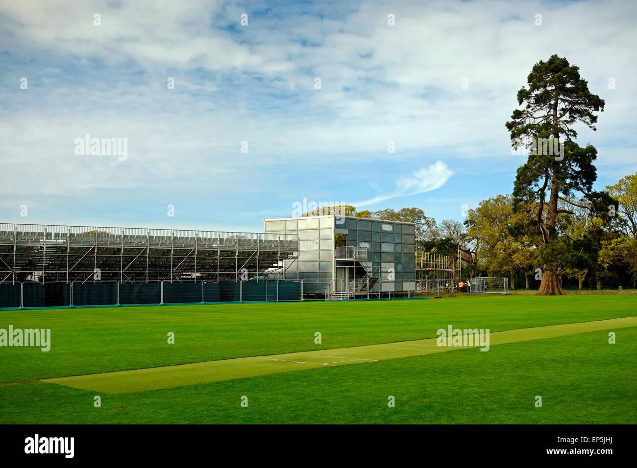 Temporary Cricket stadium Malahide Castle may 8th 2015 Dublin County Co. Ireland - Stock Image