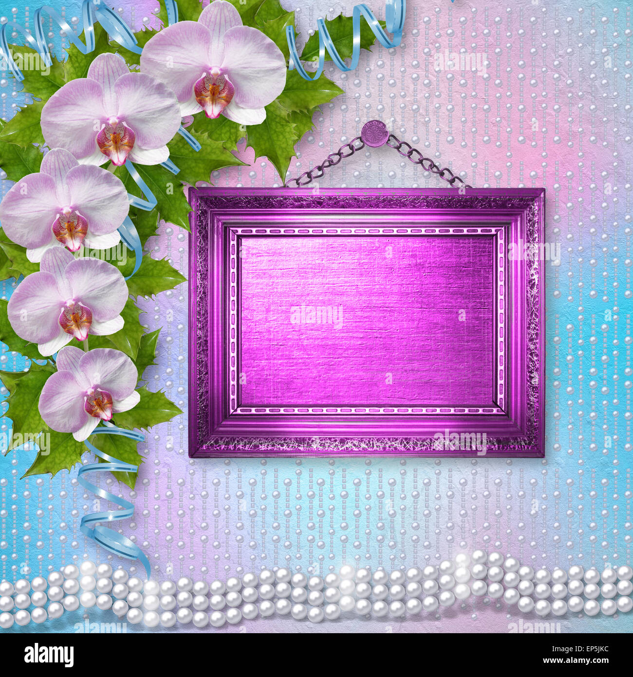Frames bouquet floral stock photos frames bouquet floral stock wooden frames on the wall with branches of beautiful orchids for greeting card stock image izmirmasajfo