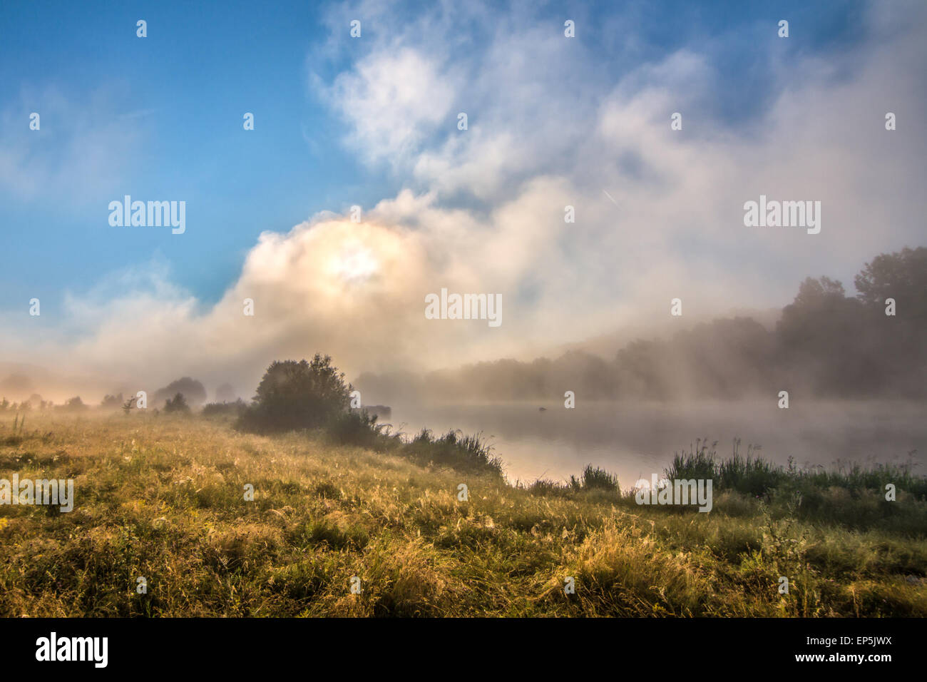Foggy morning on the river - clouds skyes and grass background - Stock Image