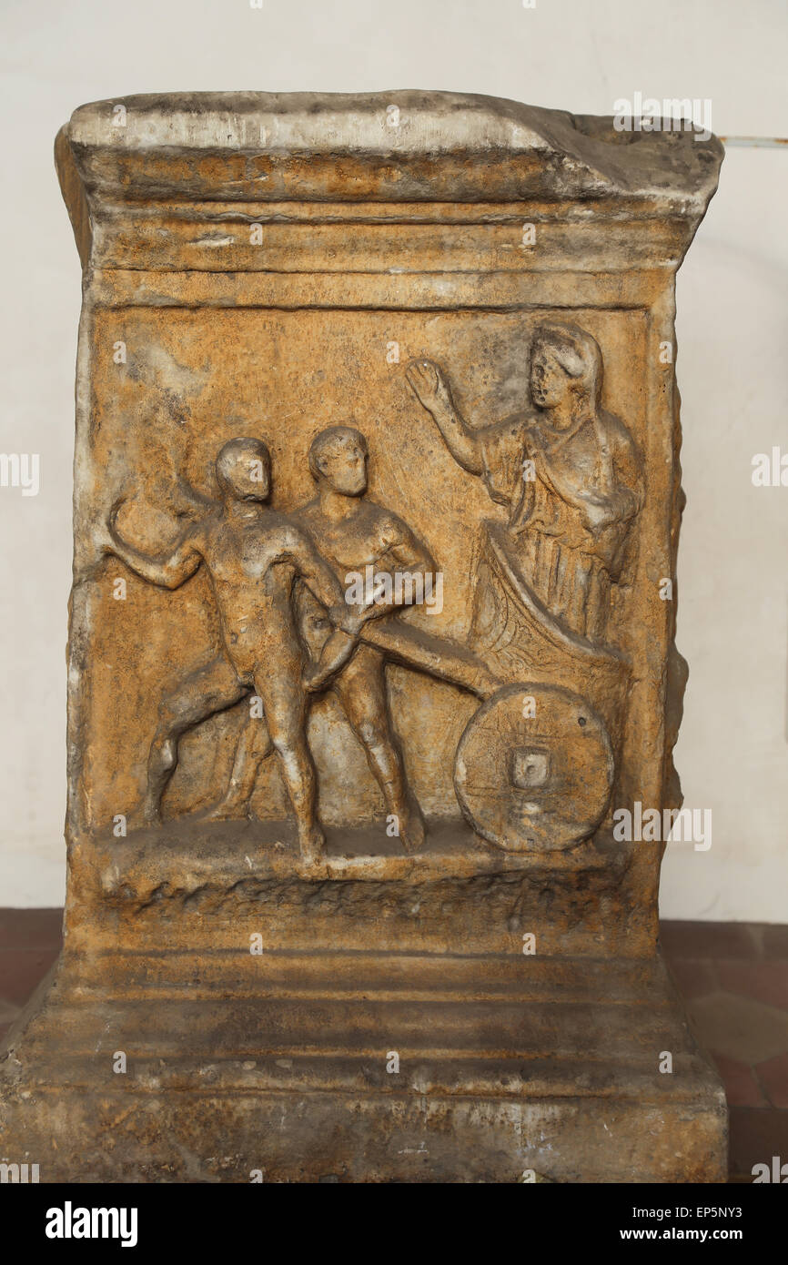 Altar. Relief. Myth of Cleobis and Bitone. Marble. Imperial Age. Rome. National Roman Museum. Baths of Diocletian. - Stock Image