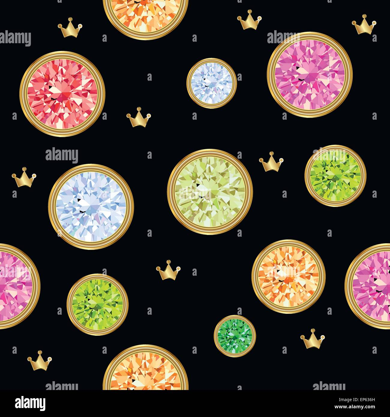 Seamless pattern with different jewels. Gemstone treasure background. - Stock Vector