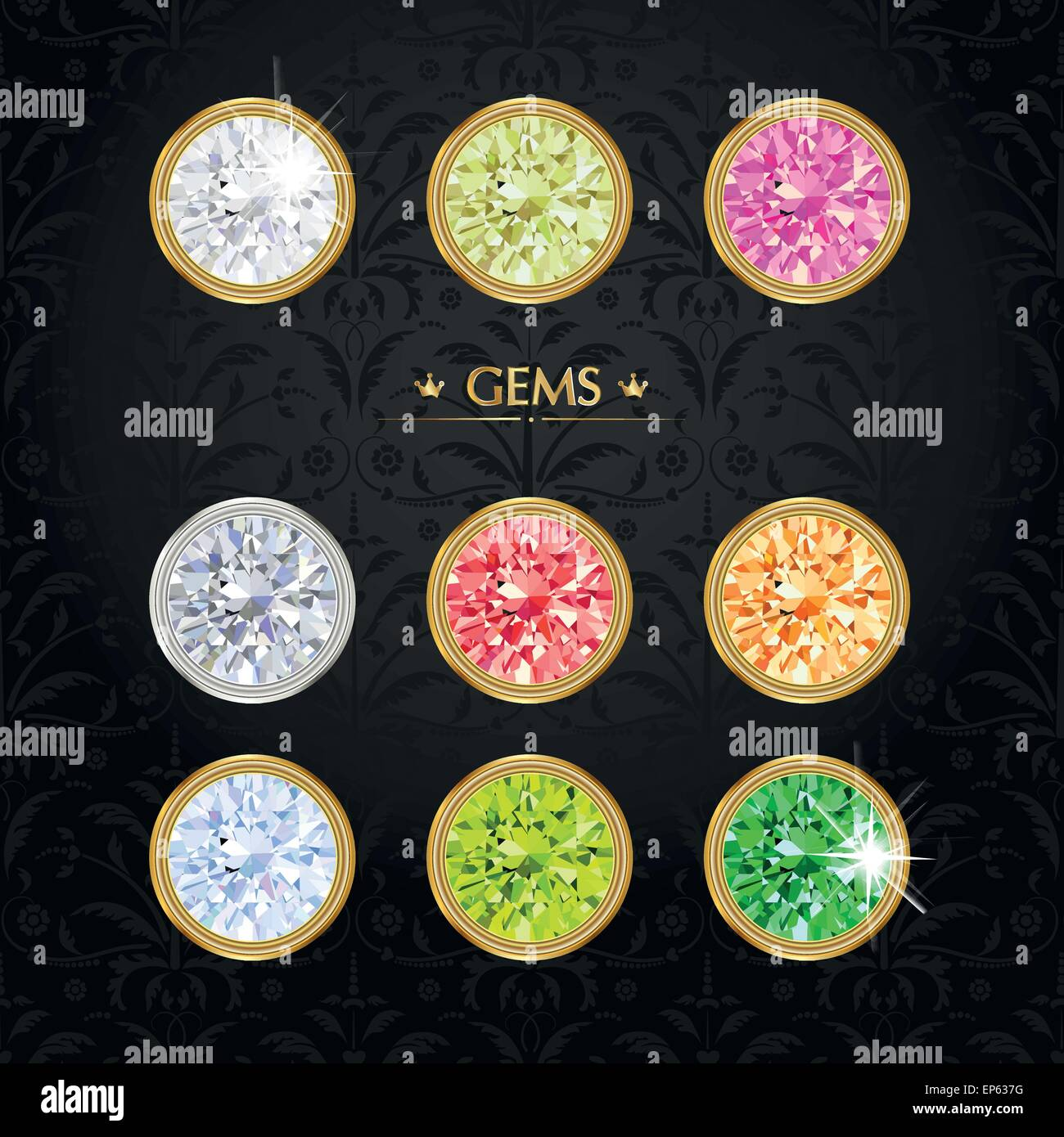 Different jewels. Gemstone treasure background. - Stock Vector