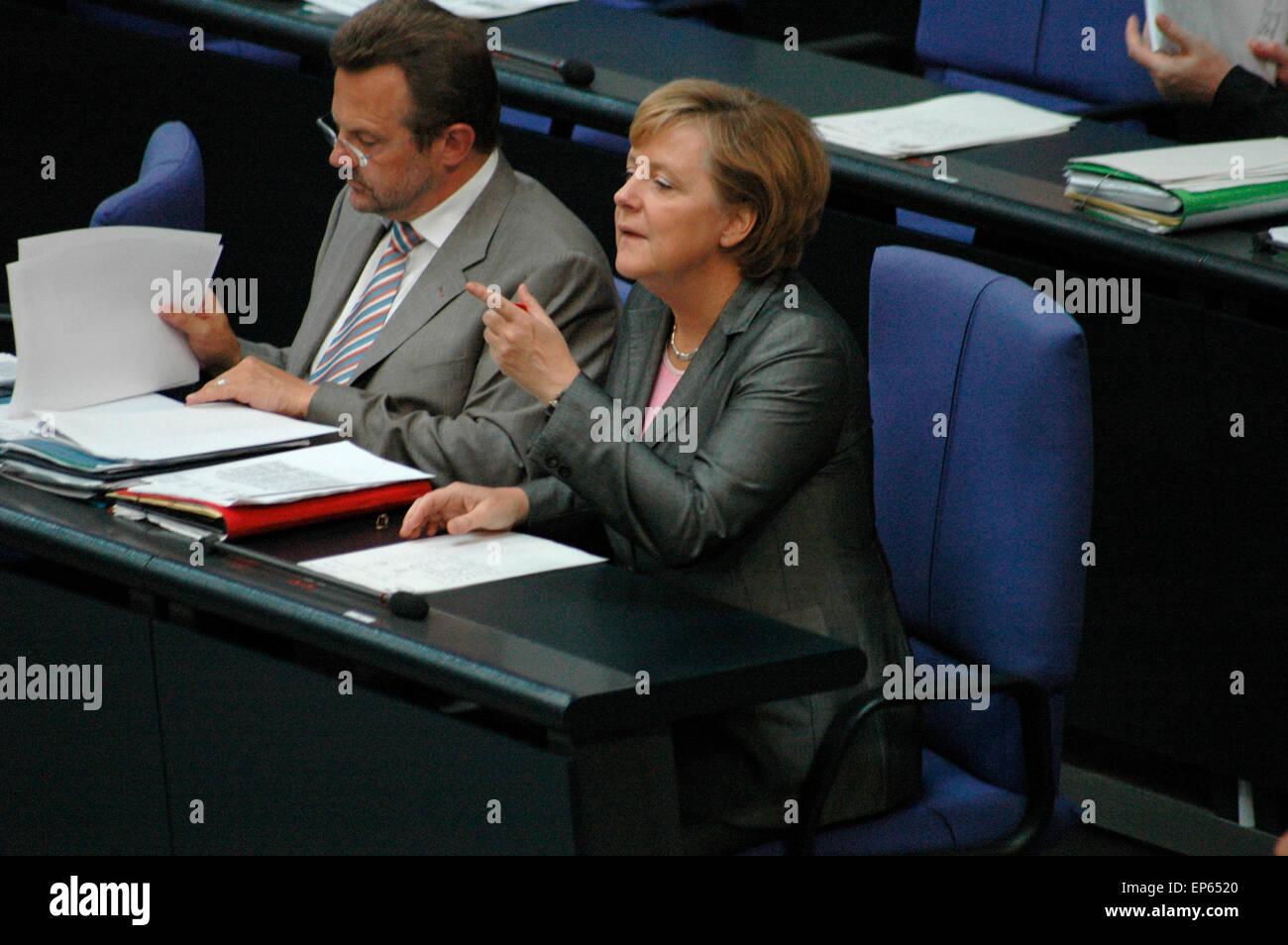 Bundeskanzlerin Angela Merkel   - Sitzung im Bundestag am 29. Juni 2006, Reichstagsgebaeude, Berlin-Tiergarten. Stock Photo
