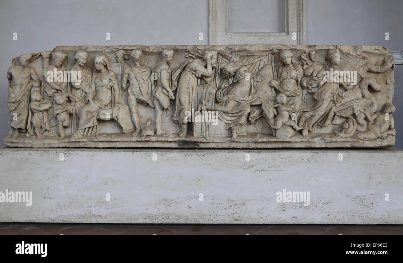 Sarcophagus. Myth of Medea. Marble. 150-170 AD. Roman. - Stock Image