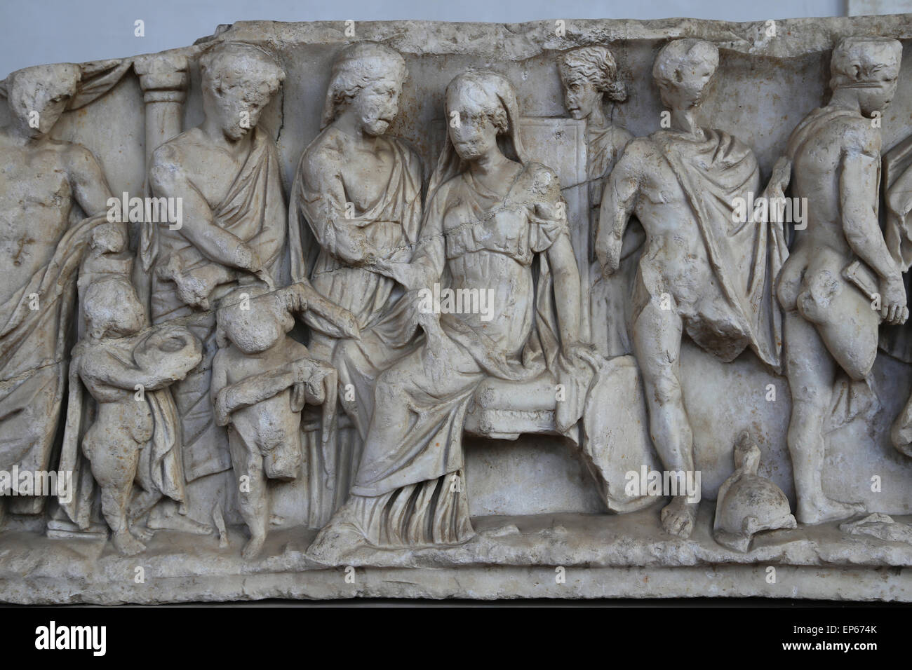 Sarcophagus. Myth of Medea. Sending of gifts to Creusa's death. Marble. 150-170 AD. Rome. National Roman Museum. - Stock Image