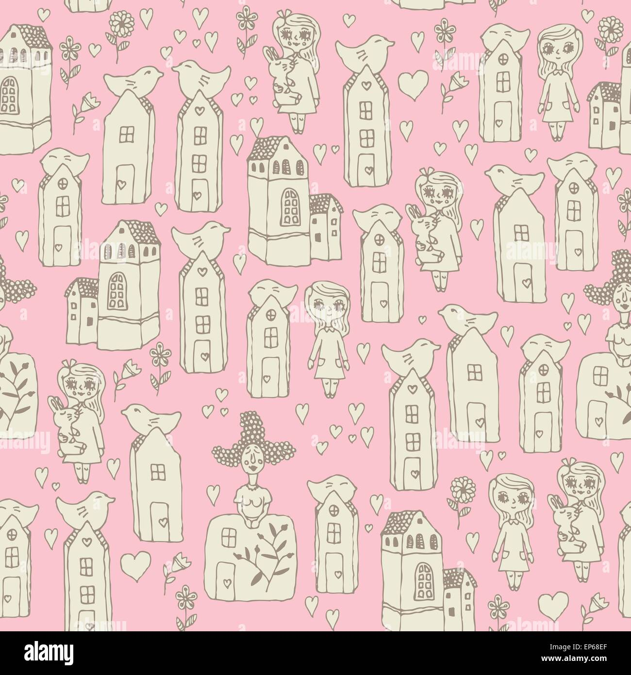 Seamless pattern with girls, kids, houses, birds, hearts in cartoon doodle style. Sketch design. Baby texture. Fabric - Stock Vector