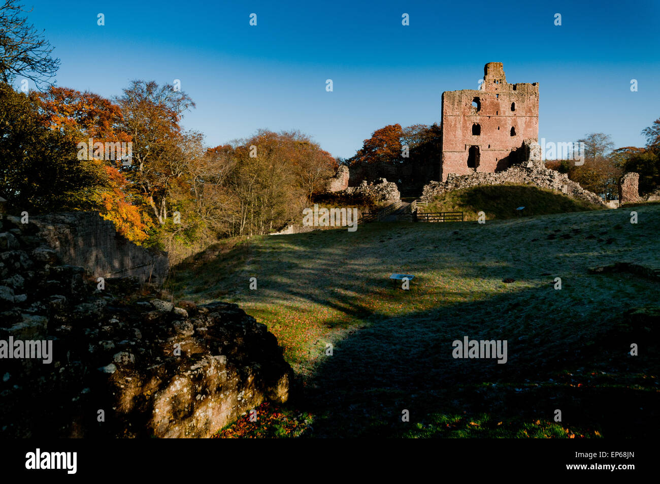 View of the keep of Norham Castle once the most dangerous place in England. One of Turner's favourite subjects. - Stock Image