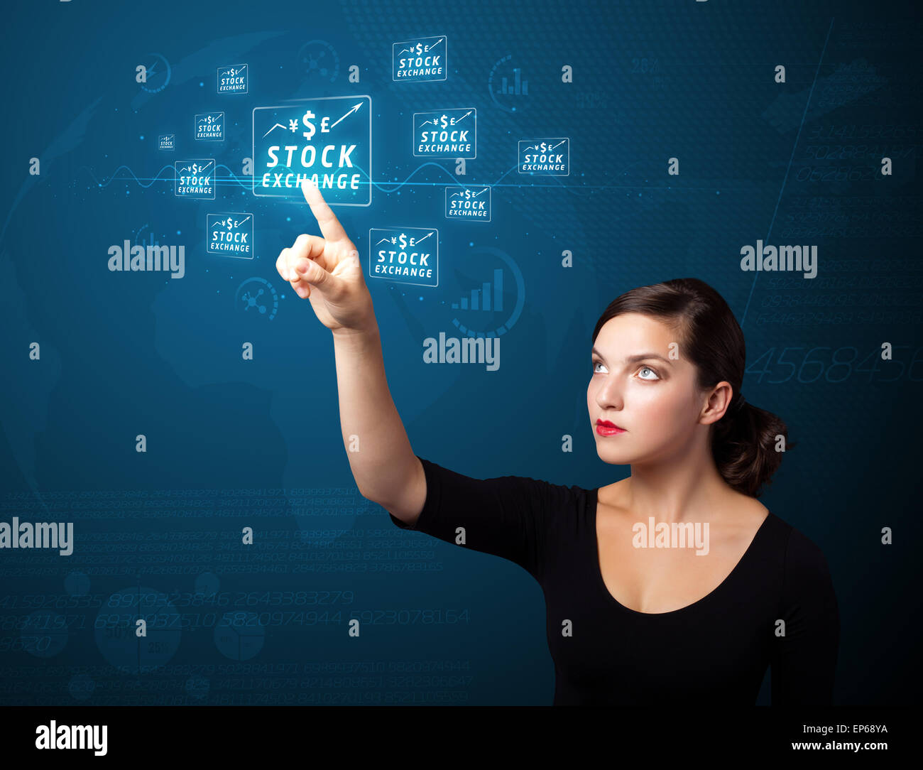 Businesswoman pressing modern business type of buttons - Stock Image