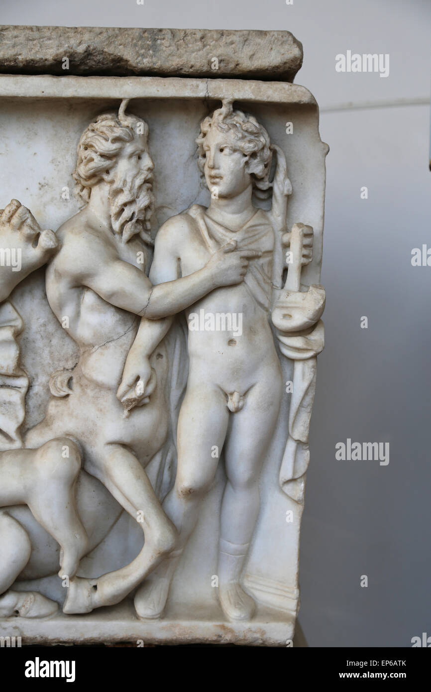 Roman sarcophagus. Apollo and Chiron. Detail. Marble. 2nd- 3rd c. AD. Rome. National Roman Museum. Baths of Diocletian. Stock Photo