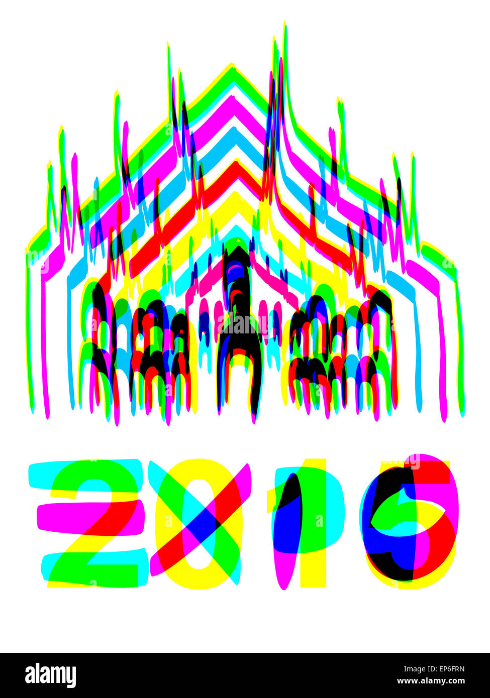 Milan Cathedral hand drawn with colors Expo 2015 - Stock Image